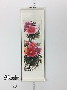 Feng Shui Peony Chinese Water Color Hand Painting Paper Scroll Silk 35 5 11 5