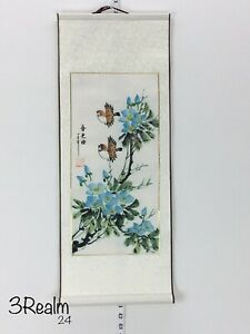 Feng Shui 2 Birds Flowers Chinese Hand Painting Paper Scroll Silk 28 11