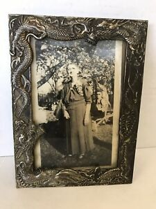 Antique Japanese Dragons Silver Plate Repousse Picture Frame