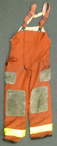 34x30 Globe Red Pants With Suspenders Firefighter Turnout Bunker Fire Gear P975