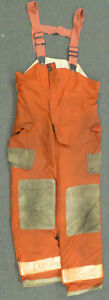 38x34 Globe Red Pants With Suspenders Firefighter Turnout Bunker Fire Gear P967