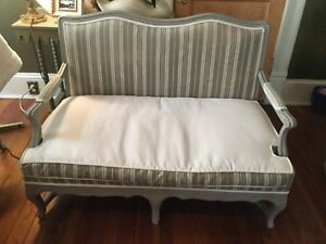 French Loveseat Sofa Settee Chalk Paint Feathers Antique French Ticking