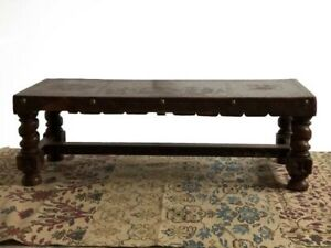 Tooled Leather Peruvian Bench Or Coffee Table Vintage With Big Metal Nails