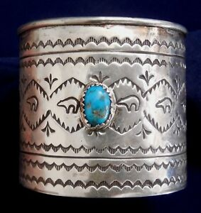 Navajo B Soce Sterling Silver Stamped Turquoise Handmade Vintage Small Cup