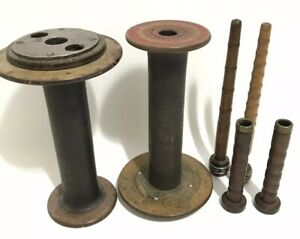 Vintage Lestershire Wood Large Small Spools Bobbins Loom Sewing 1 42 Wm Sons