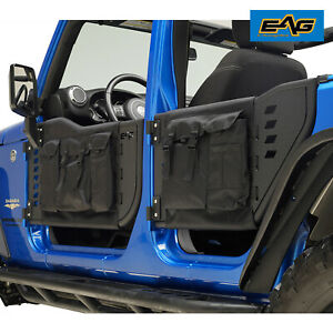 Eag Steel Tube Door With Storage Bags Mirror For 07 18 Jeep Wrangler Jk 4 Door
