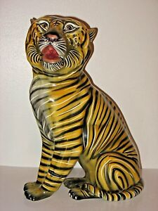 Mid Century Hollywood Regency Italy Ceramic Large Tiger Cat Sculpture Signed