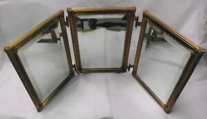 Antique Tri Fold Beveled Mirror With Bronze Frame Each Panel Is 7 1 4 X 10 1 4
