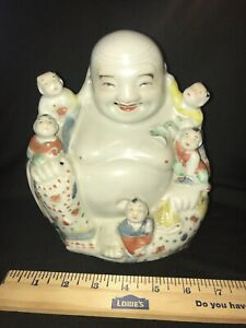 Large Antique Chinese Buddha Statue With Children Porcelain Marked