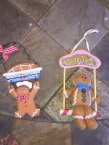 Antique Primitive Christmas Ornaments Shelf Hangers Gingerbread Man Set Of 2
