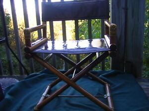 Vintage Mcguire Director S 2 Chairs Oak Brass Leather Bamboo Calif Casual