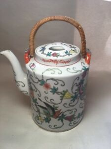 Vintage Enameled Butterflies Rose Famille Ceramic 6 Cup Chinese Teapot