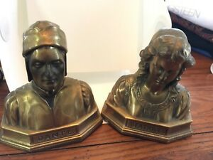 Antique Ronson Art Metal Bookends Dante Beatrice Heavy