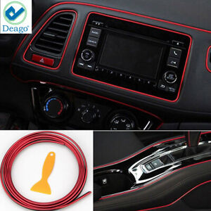 Chrome Red Trim Car Interior Exterior Moulding Strip Decorative Line 5m Flexible