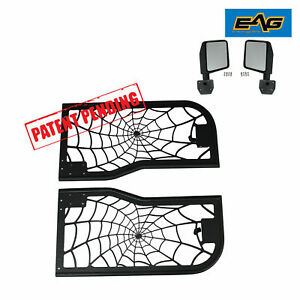 07 18 Jeep Wrangler Jk 2dr Spider Steel Tube Doors Blk With Reflection 2 Mirrors