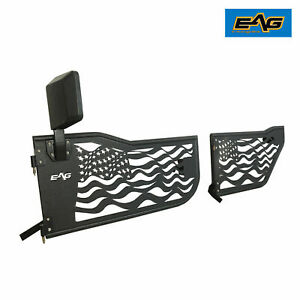 07 18 Jeep Wrangler Jk 4dr Tube Doors Us Flag Steel Replacement With Mirrors