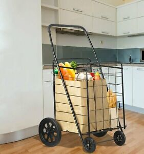 Extra Large Folding Shopping Grocery Cart Jumbo Size Heavy Duty Storage Trolley