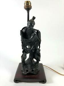 Antique Japanese Fisherman Carved Wood Lamp Working