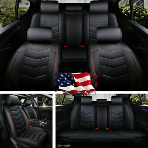Luxury Pu Leather Car Seat Covers Cushion Protector Full Surrounded All Seasons
