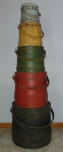 Large Stack Of 5 Old Painted Firkin Sugar Bucket Graduated Sizes