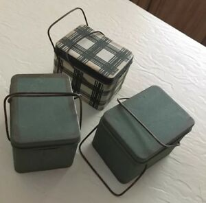 Early Look Primitive Tins With Handles Removable Lids Christmas Tree Ornaments