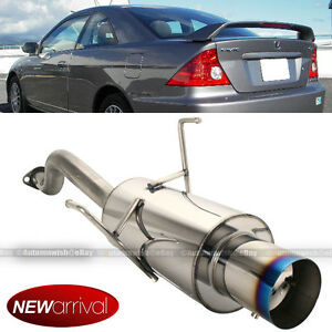 Fits 01 05 Civic 2 4 Dr Stainless Steel Axle Back Exhaust Muffler Blue Tip