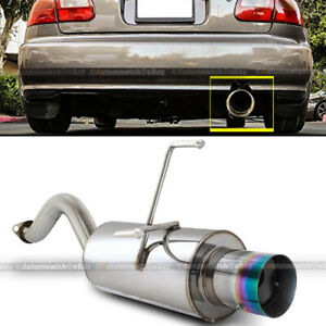 Fit 92 95 Civic 3dr Hatchback Bolt On Axle Back Exhaust Muffler Green Burn Tip