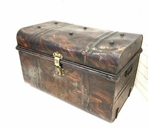 Antique Pressed Steel Steamer Trunk Japanned Metal Storage Chest Skeleton Key