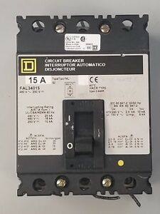 Square D Fal34015 Molded Case Circuit Breaker 15 Amps 480 Volt Hacr