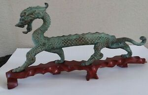 13 Large Vintage Chinese Bronze Dragon Statue W Carved Wood Stand