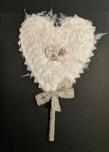 Vintage Decorative Fan Oriental Japanese Japan Feathers Materials Heart