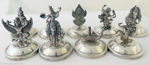 Place Card Menu Holders Sterling Silver Siam Hindu Figure Vintage Antique 5415
