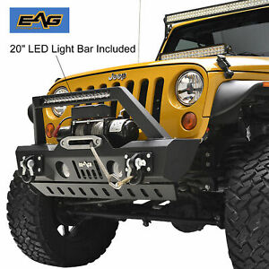 Eag 07 18 Jeep Wrangler Jk Stubby Front Bumper With Skid Plate Led Bar