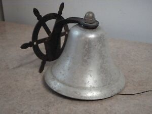 Vintage Nautical Bell 5 Ship Captain S Boat Wheel Aluminum Wall Mount Low Sound