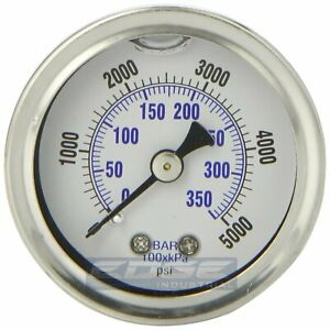 Liquid Filled Pressure Gauge 0 5000 Psi 1 5 Face 1 8 Npt Back Mount
