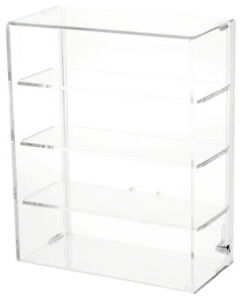 Plymor Locking Acrylic Display Case 3 Shelves 12 75 H X 10 25 W X 5 D