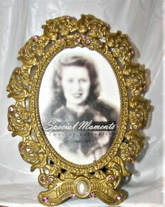 Gold Color Metal With Pink Rhinestones Pearl Small Picture Frame 2 5 X 3 5