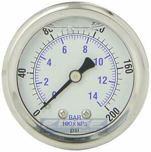 Liquid Filled Pressure Gauge 0 200 Psi 2 Face 1 4 Back Mount