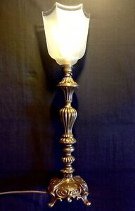 Stunning Vintage Gilded Baroque Rococo Table Lamp Torchiere