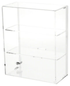 Plymor Locking Acrylic Display Case 2 Shelves 16 5 H X 16 25 W X 7 D