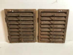 Antique Pair Wood Window Louvered Shutters Brown 20 X 24 1 2