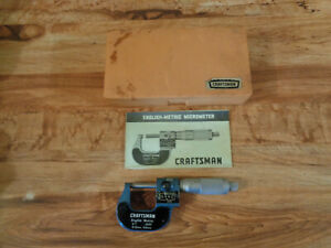 Vintage Craftsman English metric Micrometer With Case Tool Papers