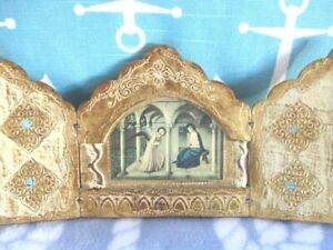 Mini Cream Gilt Aqua Wood Italian Florentine Madonna Annunciation Triptych Icon