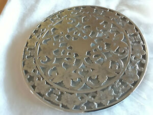 1950 S Webster Sterling Silver Overlay And Glass Daffodil Trivet 6