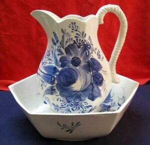 Basin And Pitcher Blue And White Hexagonal Made In Italy