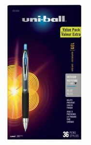 Uni ball 207 Retractable Fraud Prevention Gel Pens 0 7 Mm Blue Ink 36 pack