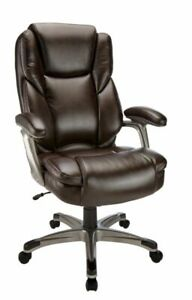Realspace Cressfield Bonded Leather High back Chair Brown silver