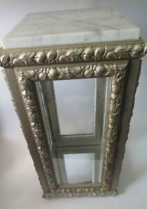 Vintage Vitrine Display Case Cabinet Glass Wood Marble Top Made In Italy 3