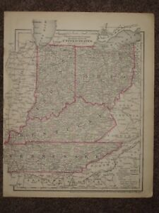 1874 Kentucky Tennessee Oh In Il Mo Antique Map Colton Geography Atlas Original