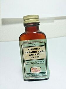 Antique Pharmacy Bottle Pulvules No 40 Theamin Amytal No 229 Eli Lilly